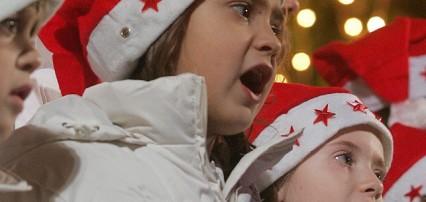 A children choir carols during the launc